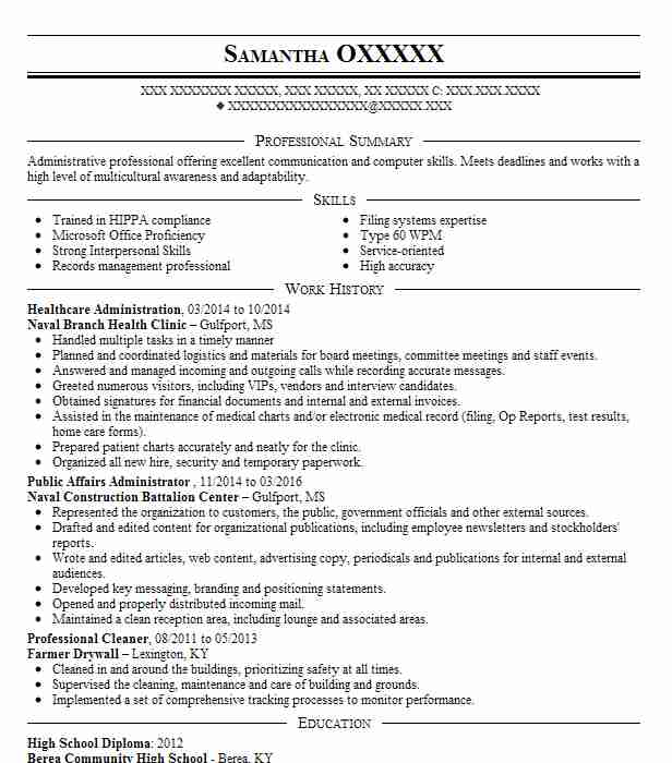 healthcare administration internship resume example