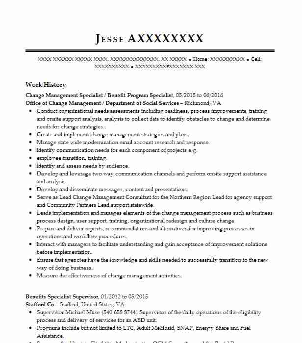Change Management Specialist Office Of Department Social Services Summary