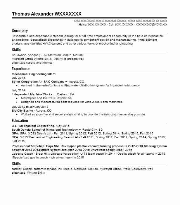 132 Mechanical Engineers (Engineering) Resume Examples in South ...