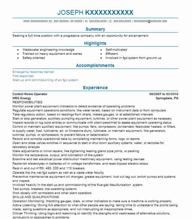 Control Room Operator Resume Sample