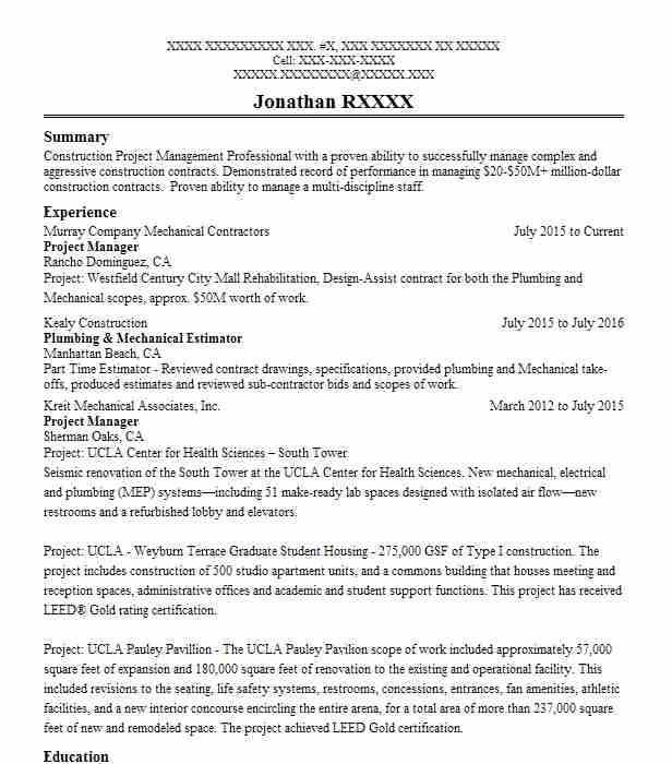 Owner Resume Example Mark Phipps Plumbing Company