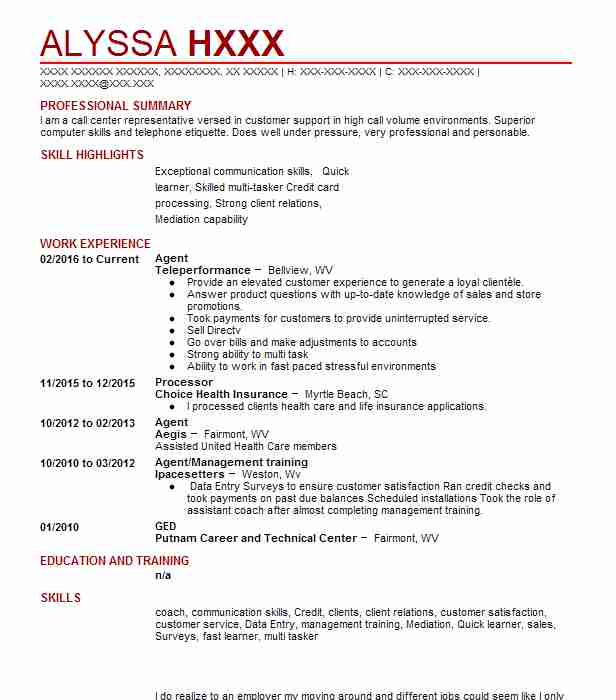 find resume examples in fairmont  wv