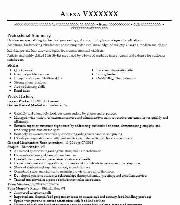 bakery worker resume sample