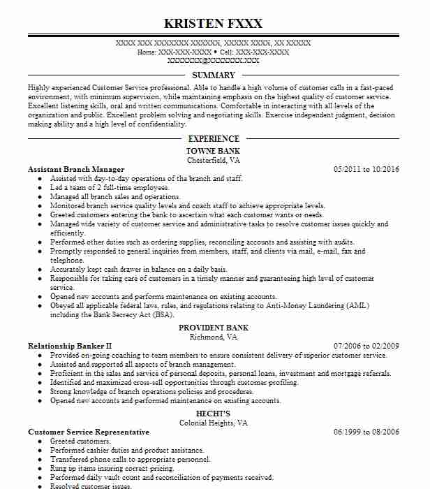 assistant branch manager resume sample
