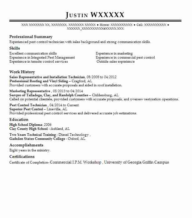 4 pest control resume examples in alabama livecareer