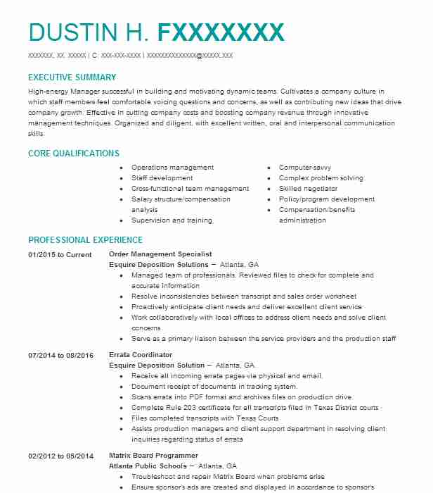 Customer Order Management Specialist Resume Example Westcon Group