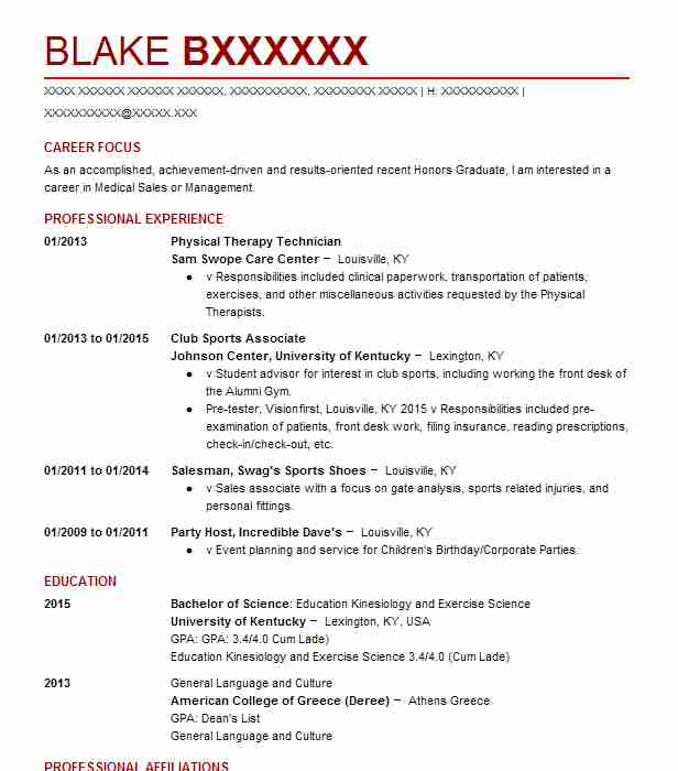 physical therapy technician resume sample