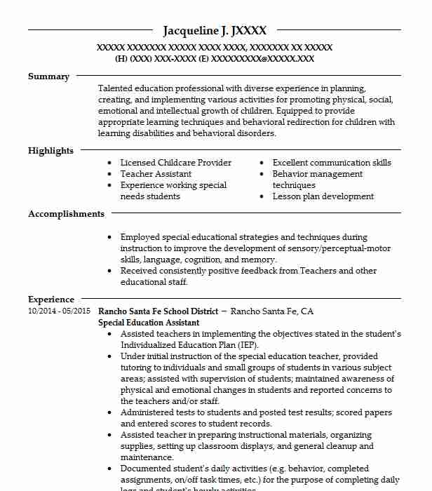 special education assistant resume sample