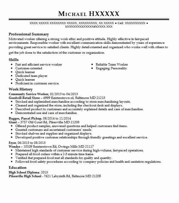 community service worker resume sample