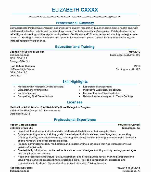 patient care assistant resume sample