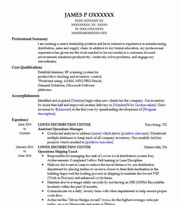assistant operations manager resume sample