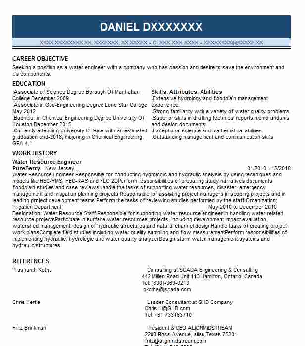 water resource engineer resume sample