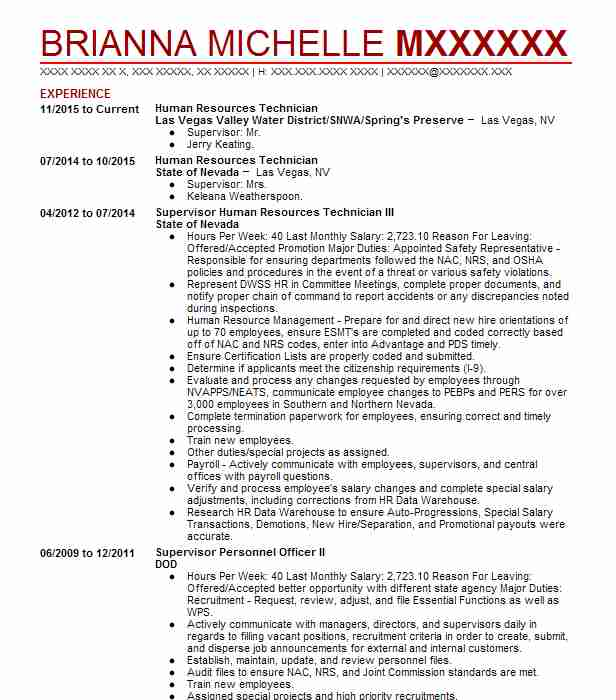 human resources technician resume example dod army rotc