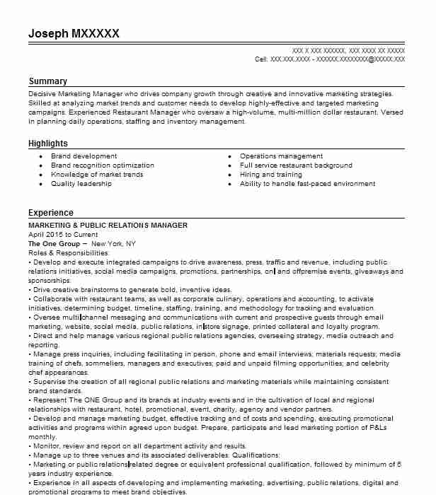 marketing and public relations office resume example