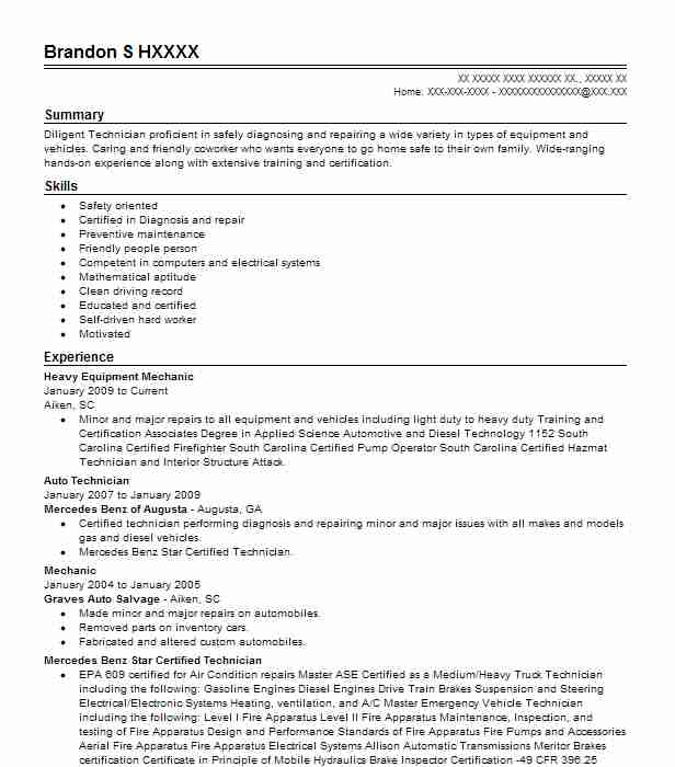 heavy equipment mechanic resume sample