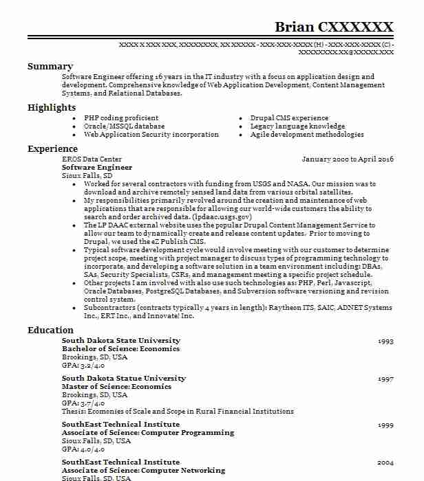 21 Software Engineering Resume Examples in South Dakota | LiveCareer