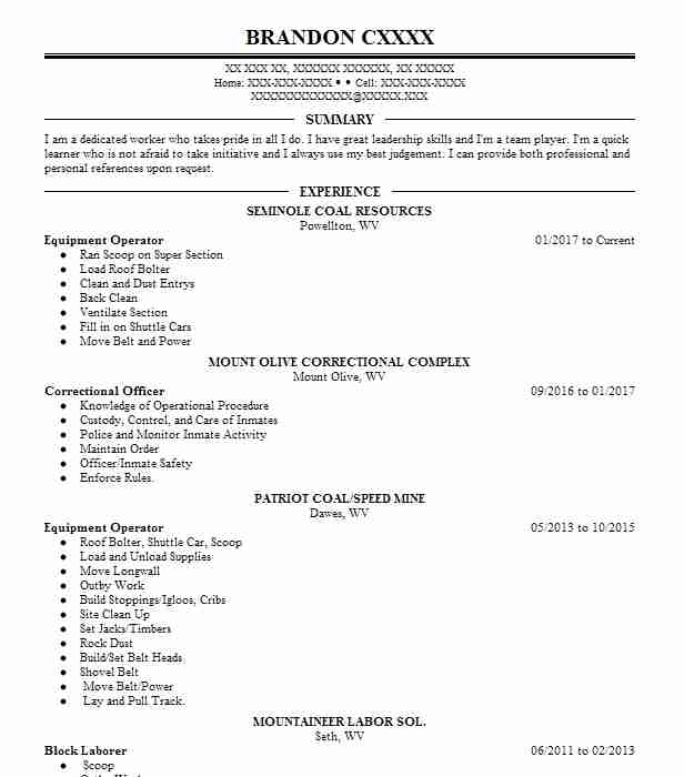 10342 Mining And Extraction Resume Examples Skilled Trades Resumes