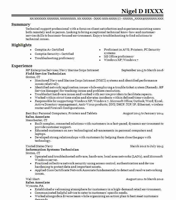 318 Technical Support Computers And Technology Resume Examples In