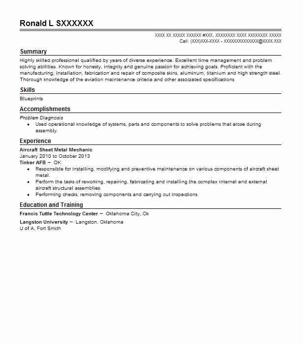 aircraft sheet metal mechanic resume sample livecareer rh livecareer com aviation structural mechanic resume sample aviation resume - Aircraft Sheet Metal Mechanic Resume Sample