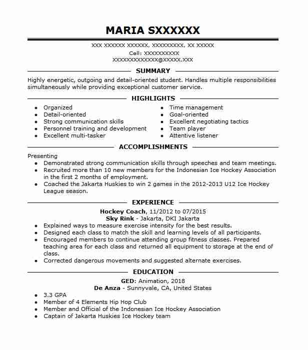 hockey coach resume sample