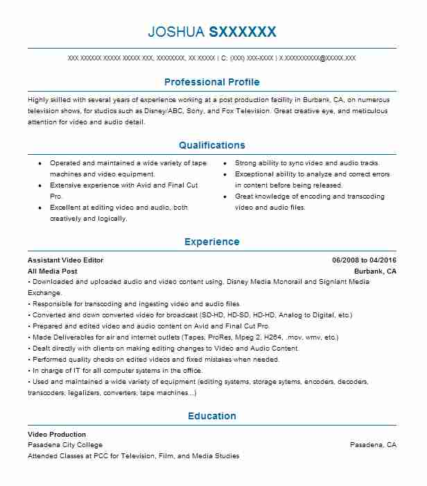 Assistant Video Editor Resume Sample | Editor Resumes ...