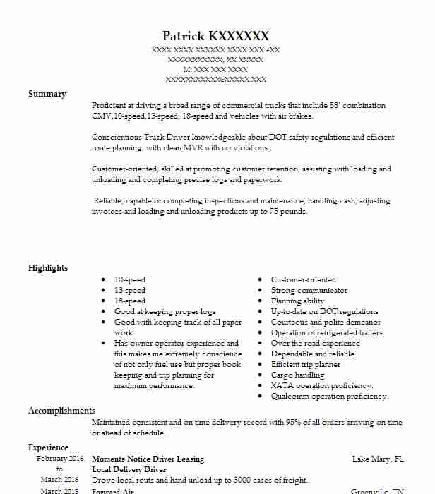 Local Delivery Driver Resume Sample Driver Resumes