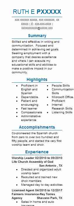 4205 English As A Second Language Resume Examples | Education And ...