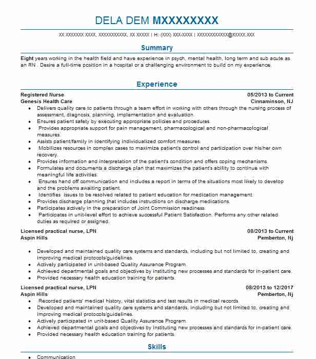Similar Resumes  Lpn Resume Samples