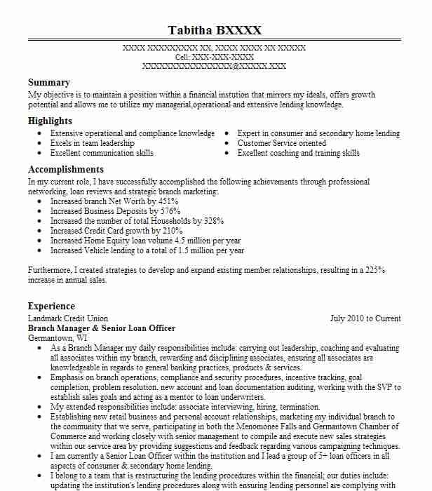 Senior Loan Officer Branch Manager Resume Example Movement