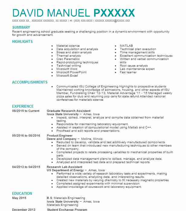 graduate research assistant resume sample