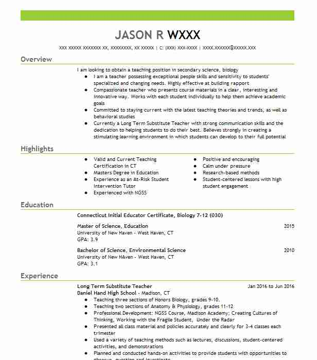 501 Secondary School Resume Examples In Connecticut Livecareer