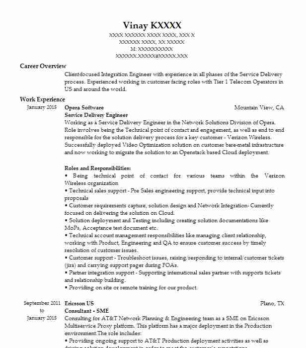 Service Delivery Engineer Resume Example Opera Software