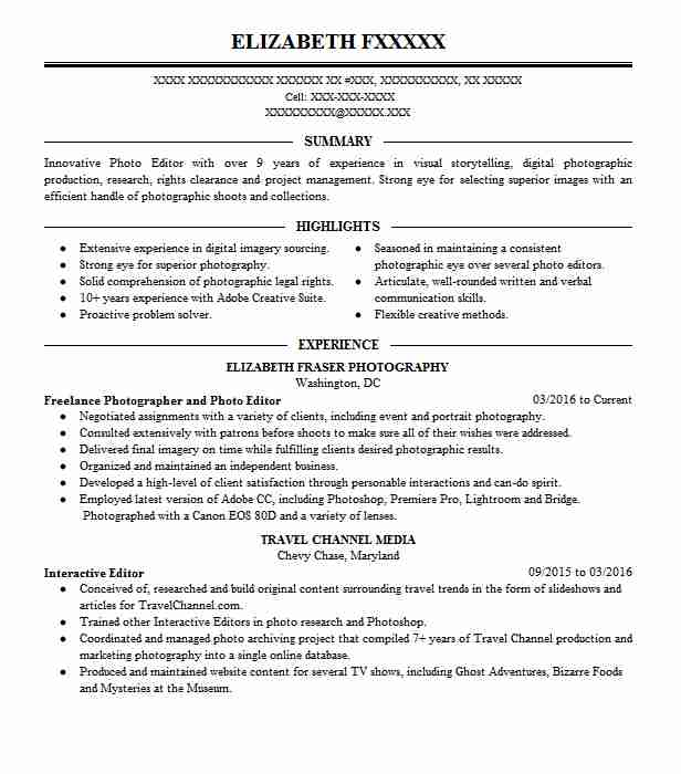 photoshop retoucher resume sample