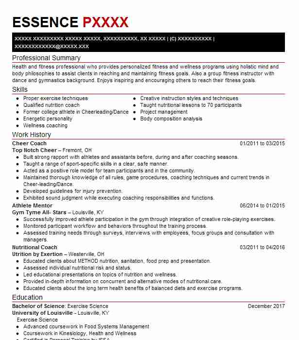 cheer coach - Resume Examples Exercise Science
