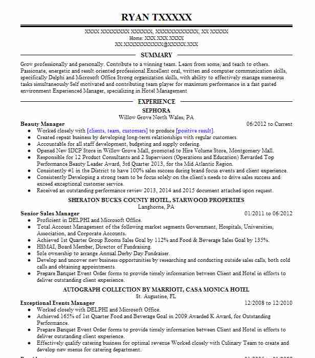 beauty manager resume sample