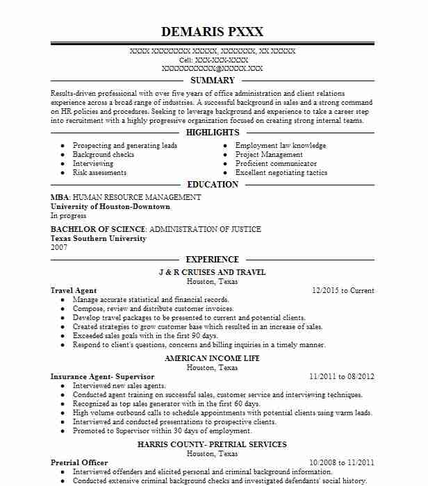 Travel Agent Resume Sample Travel And Tourism Resumes Livecareer