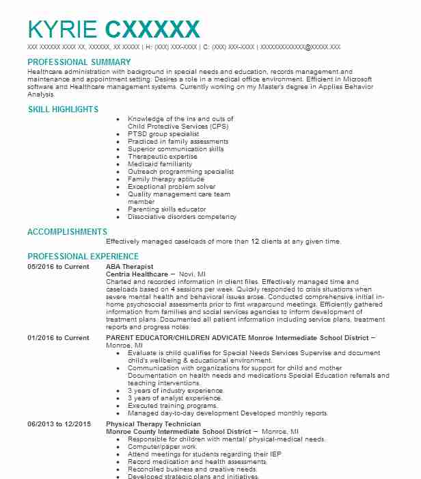 aba therapist resume sample resumes misc livecareer