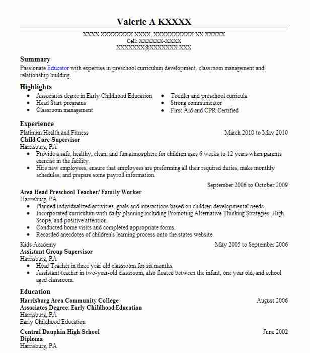 child care supervisor resume sample