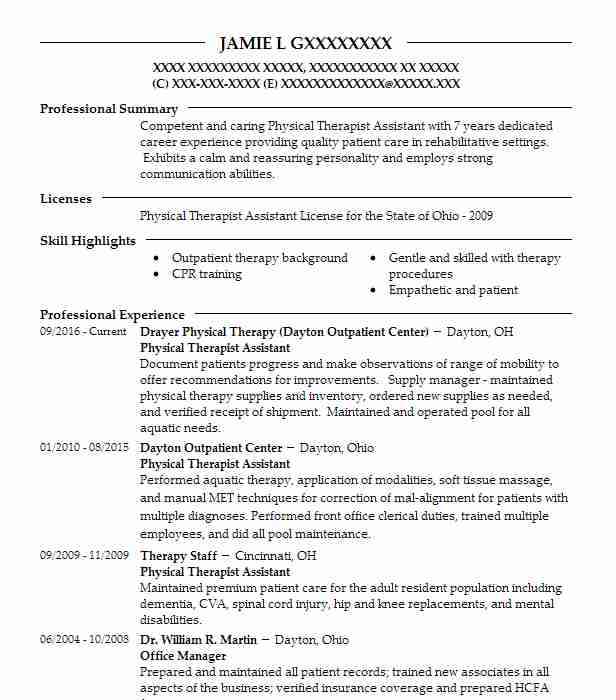 physical therapist assistant resume sample