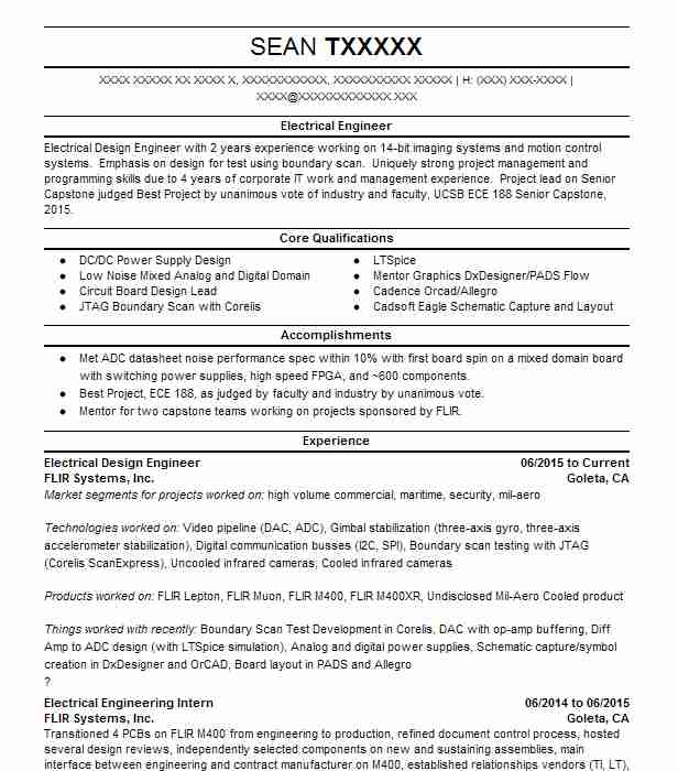 Electrical Design Engineer Resume Example S Y Lee Associates Downey California