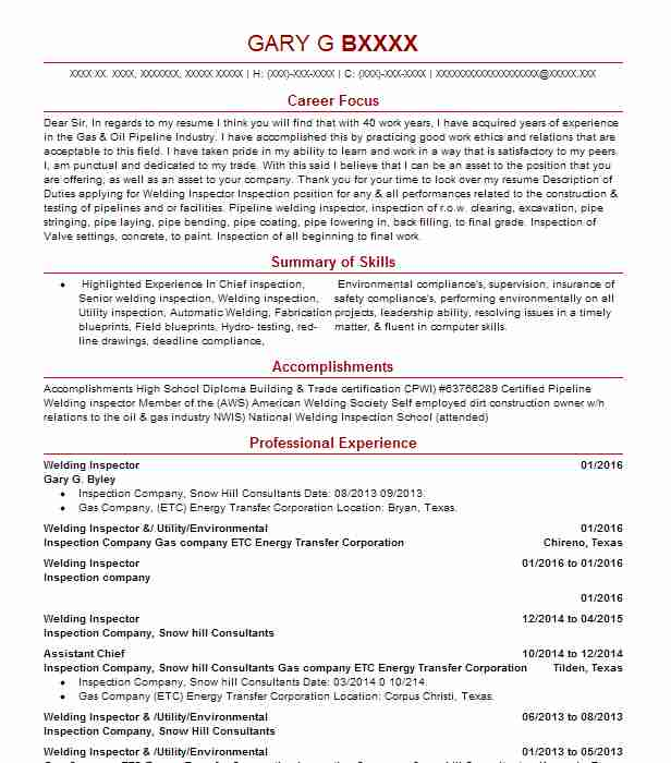 welding inspector resume sample