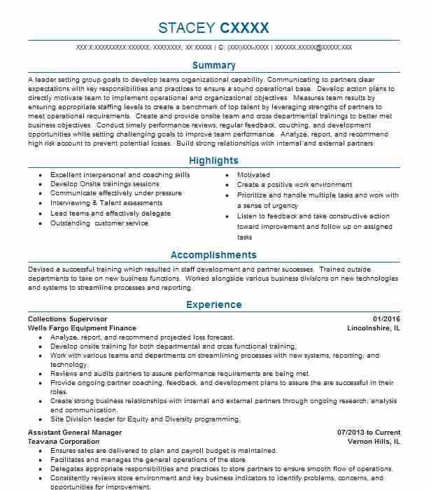 collections supervisor resume sample  supervisor resumes