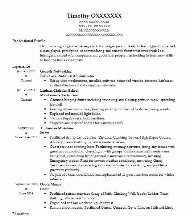 entry level network administrator resume sample