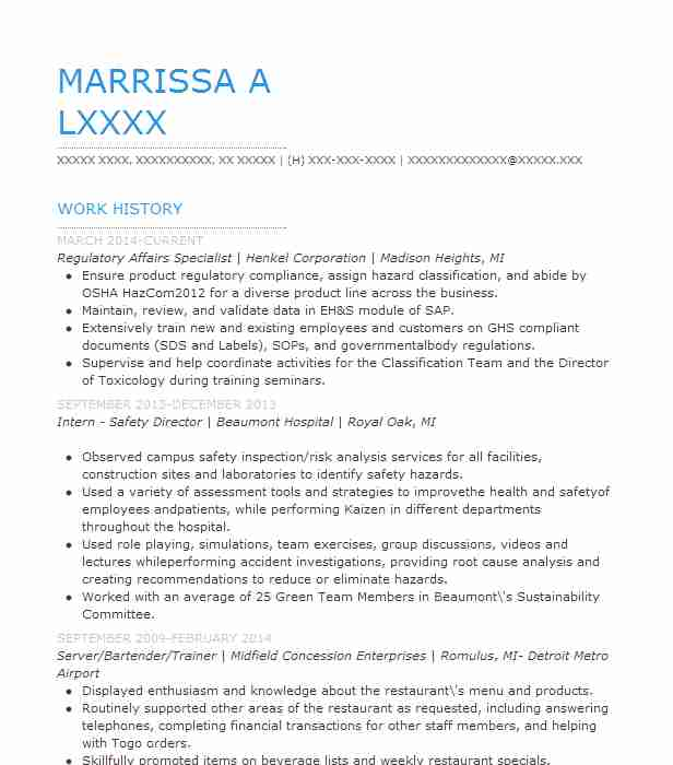 Regulatory Affairs Specialist Resume Sample Livecareer