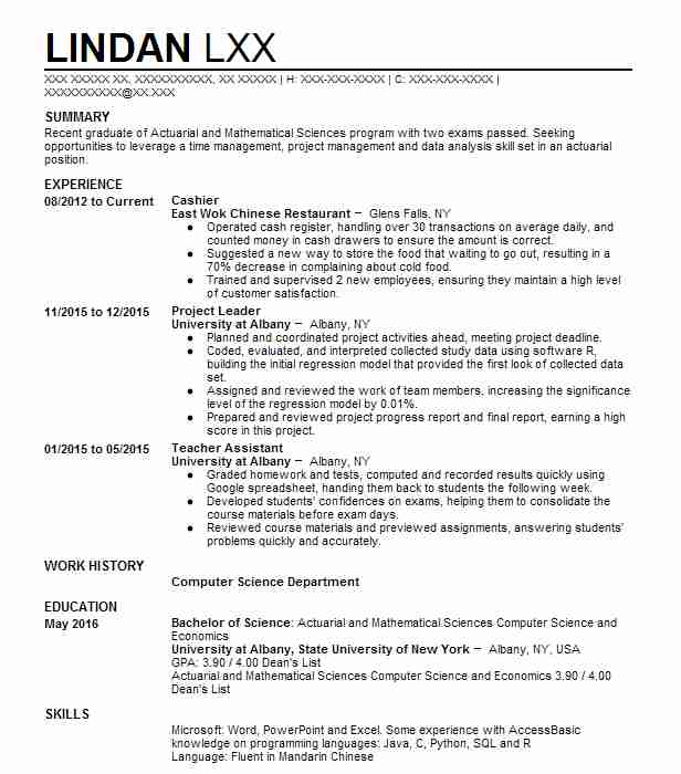 Actuarial Cover Letter: 2351 Actuaries Resume Examples