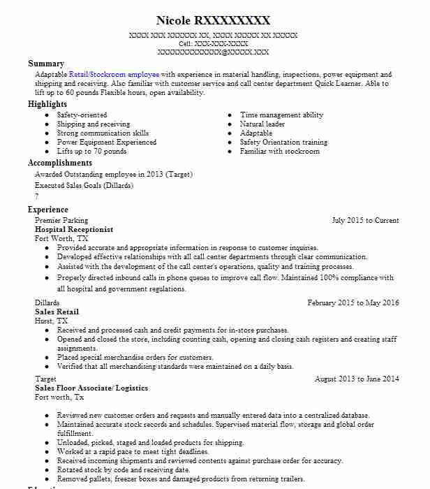 Hospital Receptionist Resume Example Livecareer