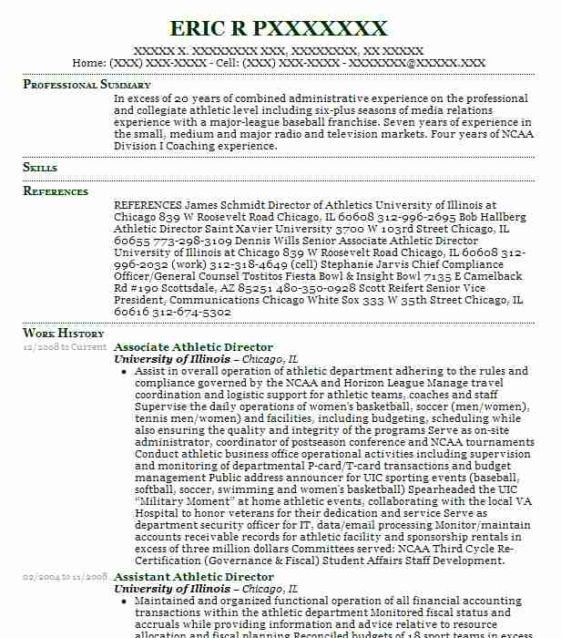 Associate Athletic Director Resume Sample Livecareer