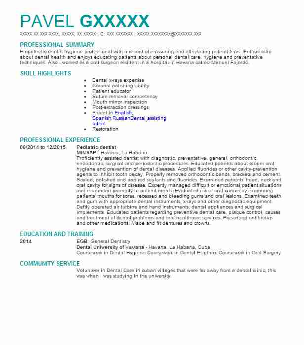 Pediatric Dentist Resume Sample Resumes Misc Livecareer