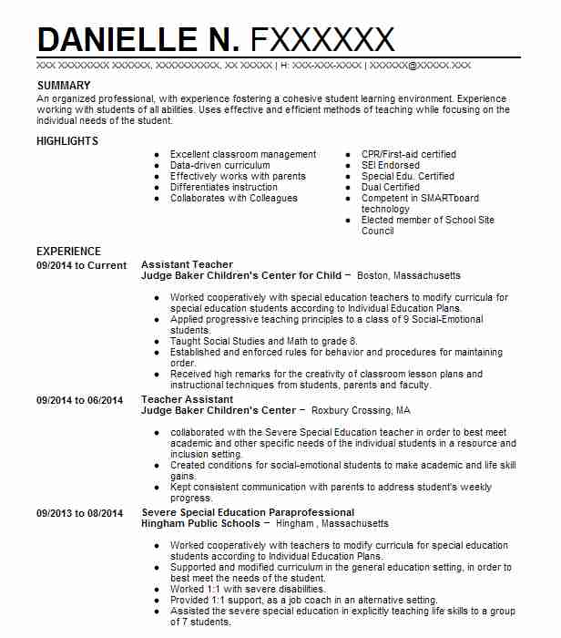 Assistant Teacher  Pastry Chef Resume
