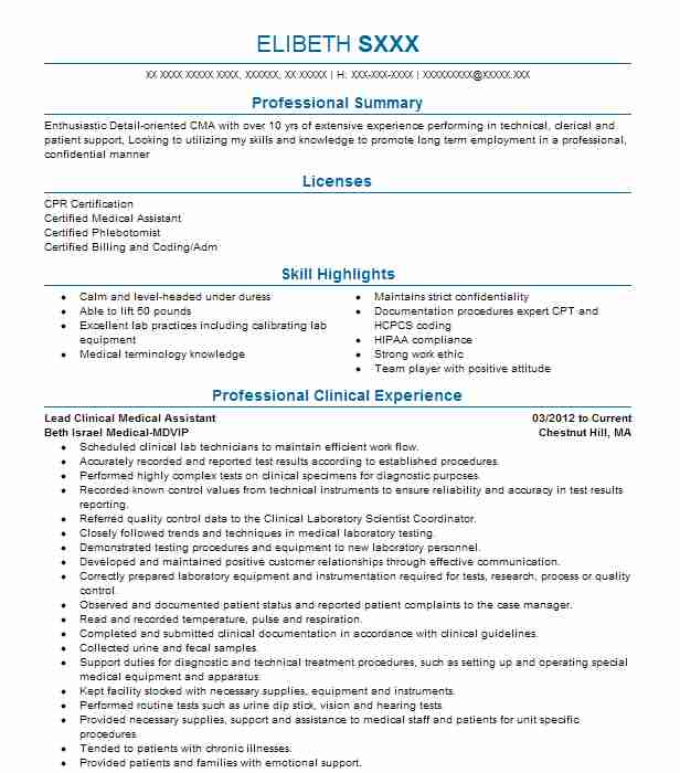 Lead Medical Assistant Resume Example Stayton Family Practice Sublimity Oregon